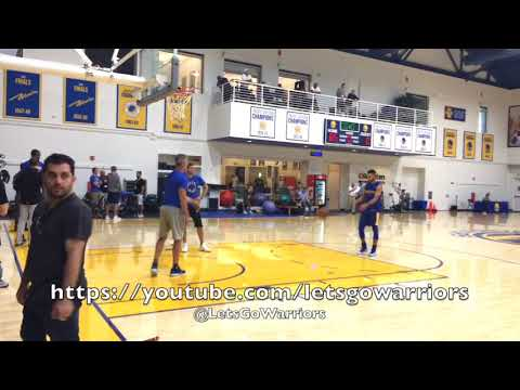Stephen Curry misses a dunk, then hits the walk-away shot with the assist from Q (asst Bruce Fraser)