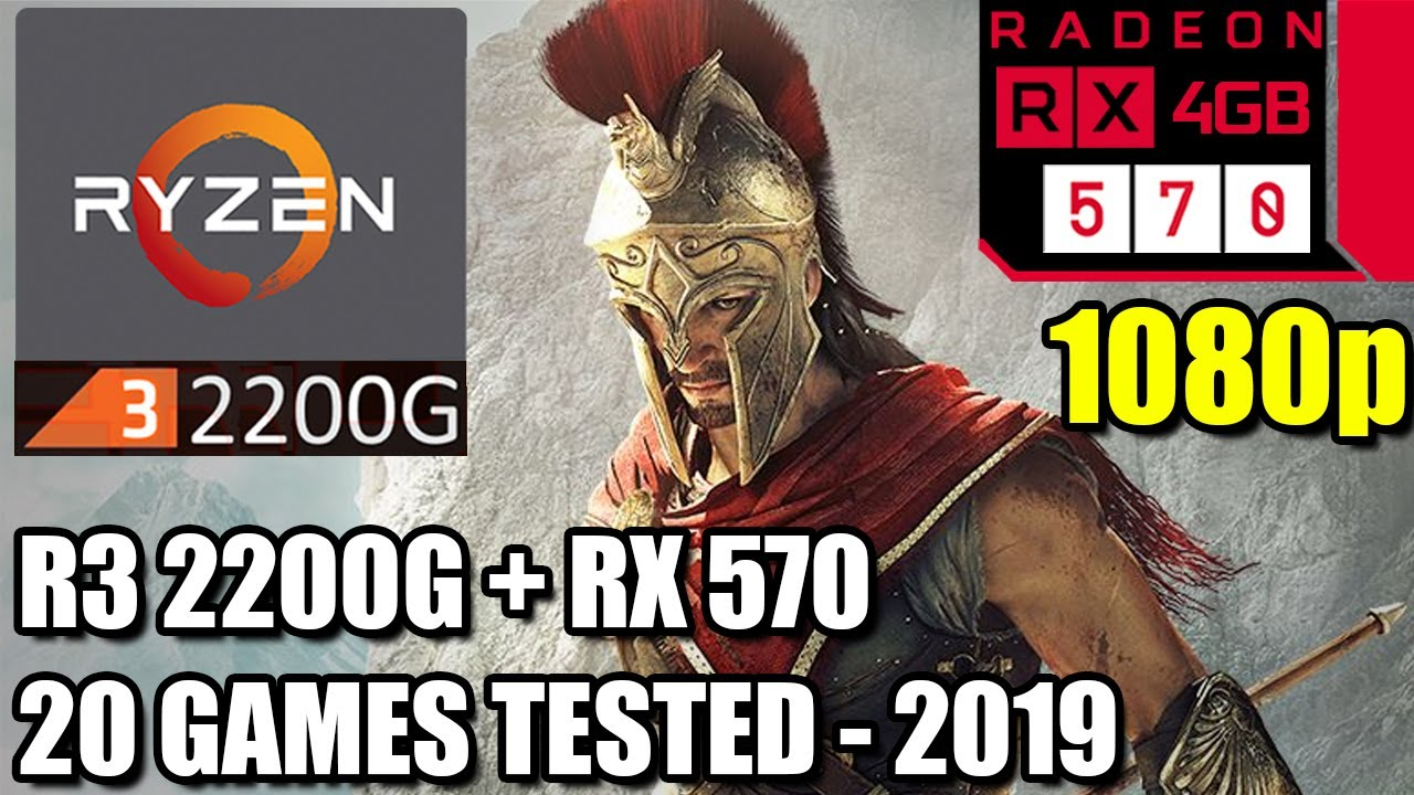 Ryzen 3 2200G paired with an RX 570 - Enough For 60 FPS? - 20 Games Tested  at 1080p - Benchmark PC