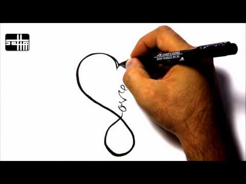 How To Draw love heart   - Tattoo Design Style Amazing