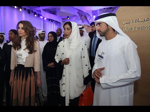 """ولي عهد دبي والملكة رانيا العبدالله يزوران معرض """"الديسكفري"""""""