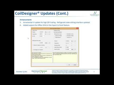 CoilDesigner and VapCyc Webinar - Software Releases Fall 2015