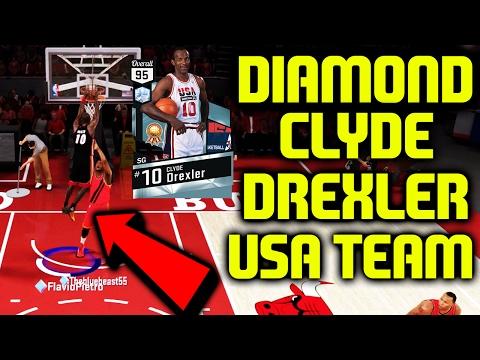 DIAMOND USA CLYDE DREXLER GAMEPLAY! FULL USA LINEUP! NBA 2K17 MYTEAM