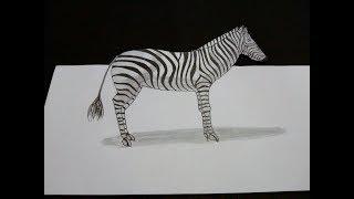 How to draw 3D Zebra II Drawing 3D zebra II Zebra 3D drawing  II How to make 3D Zebra