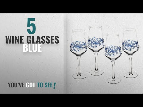 Best Wine Glasses Blue [2018]: Spode Blue Italian Glassware Wine Glasses, S/4