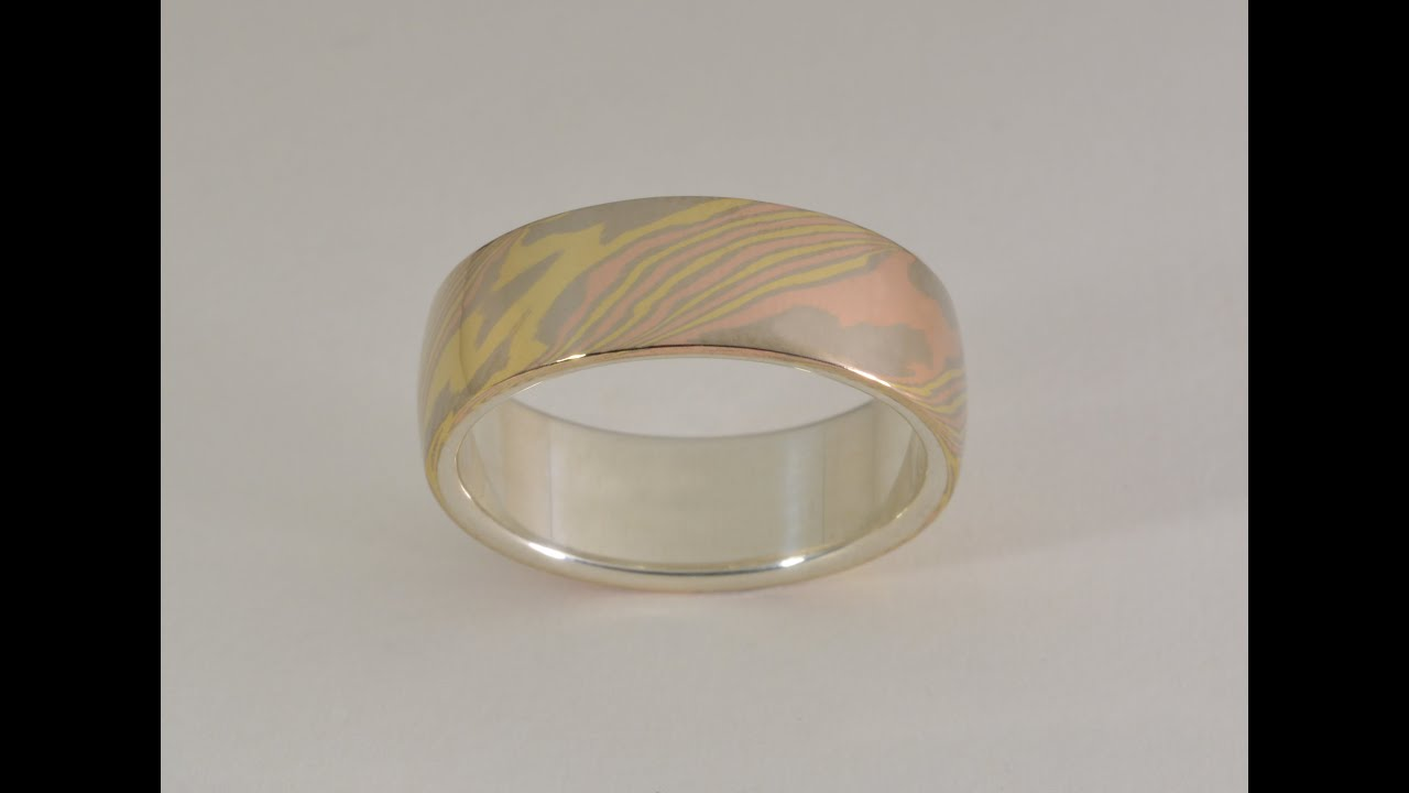 narrow gane band mokume unique products ring woodgrain silver metal wedding and rings sterling trigold