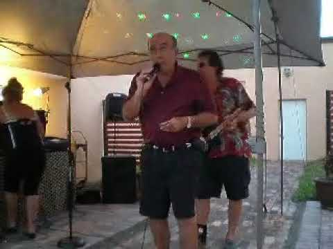 Vince with Karaoke Rick at the Courtyard Cafe in Punta Gorda, Florida
