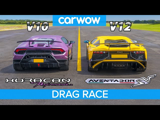 Lamborghini Aventador SV v Huracan Performante - DRAG RACE, ROLLING