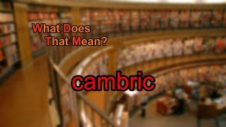 What does cambric mean?