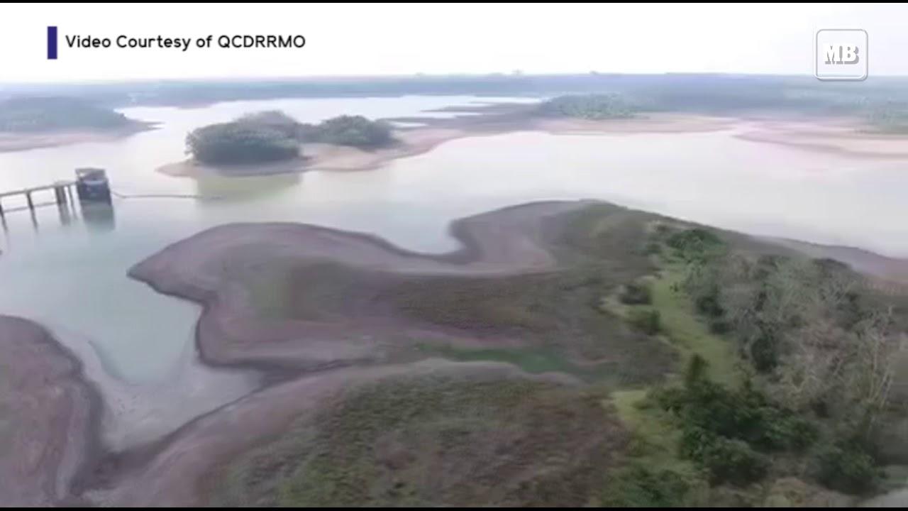 Aerial footage of La Mesa Dam in critical level