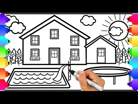 Learn How to Draw a House with Swimming Pool and Trampoline | House Coloring Pages | Learn to Draw