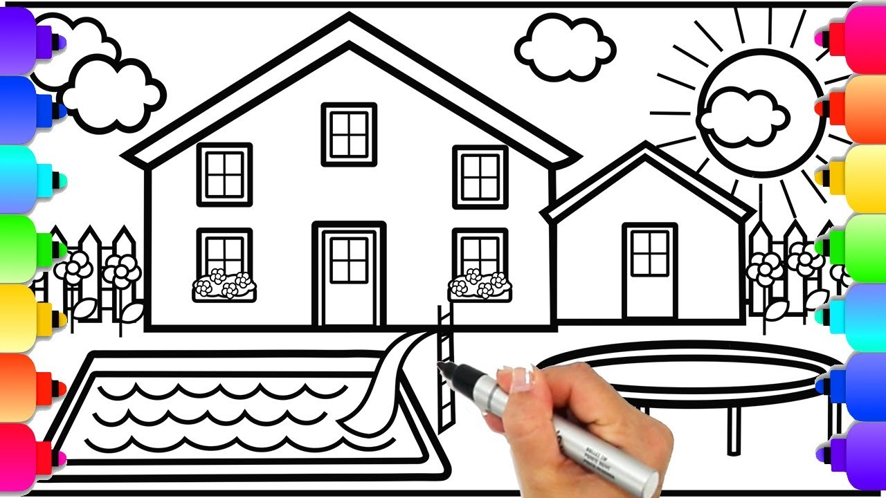 Learn How to Draw a House with Swimming Pool and Trampoline  House  Coloring Pages  Learn to Draw