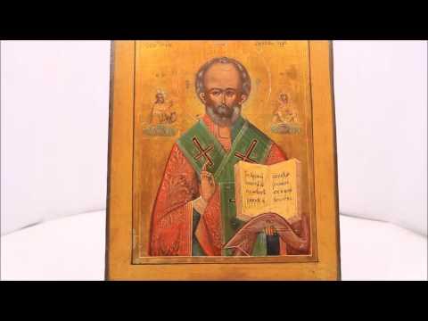 Купить икону святого Николая Чудотворца  - старинные иконы. OFD0063