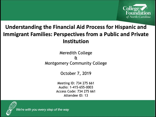 CFNC: Webinar - Understanding the Financial Aid Process for Hispanic and Immigrant Families