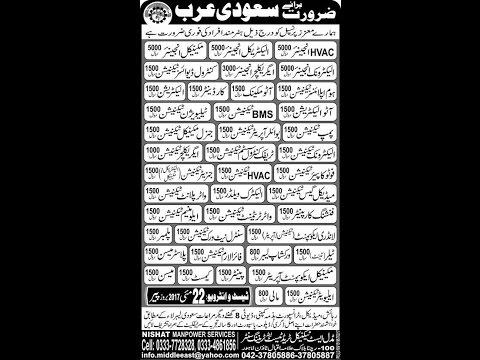 Jobs in Saudia Arabia, UAE, Malaysia, Algeria, Bahrian 20 May 17