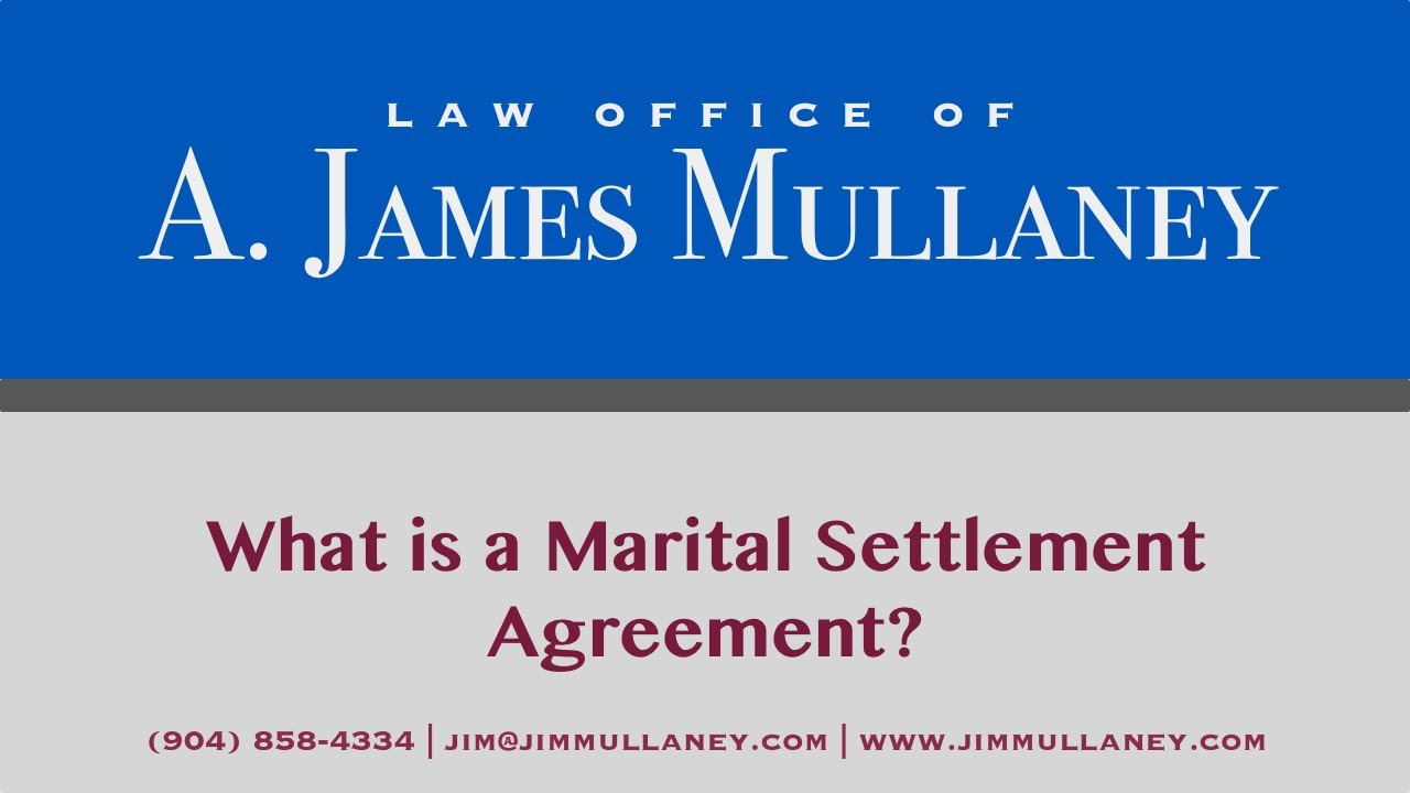 In Florida What Is A Marital Settlement Agreement Youtube