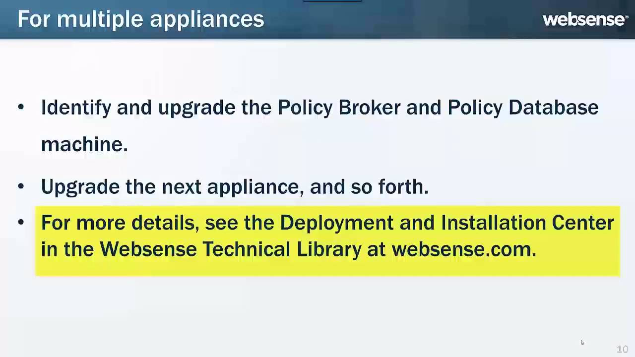 Upgrading Websense V-Series Appliances to Version 8 0 x