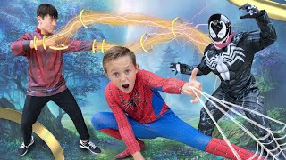 Shang Chi and Spiderman Team Up Against Venom!  Superhero Showdown!