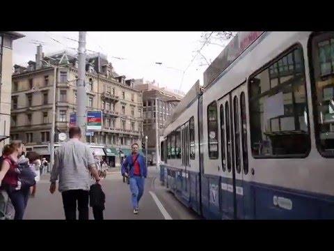 """Spring in Zurich and tram ride at """"Bahnhofstrasse"""" 5.4.2016"""