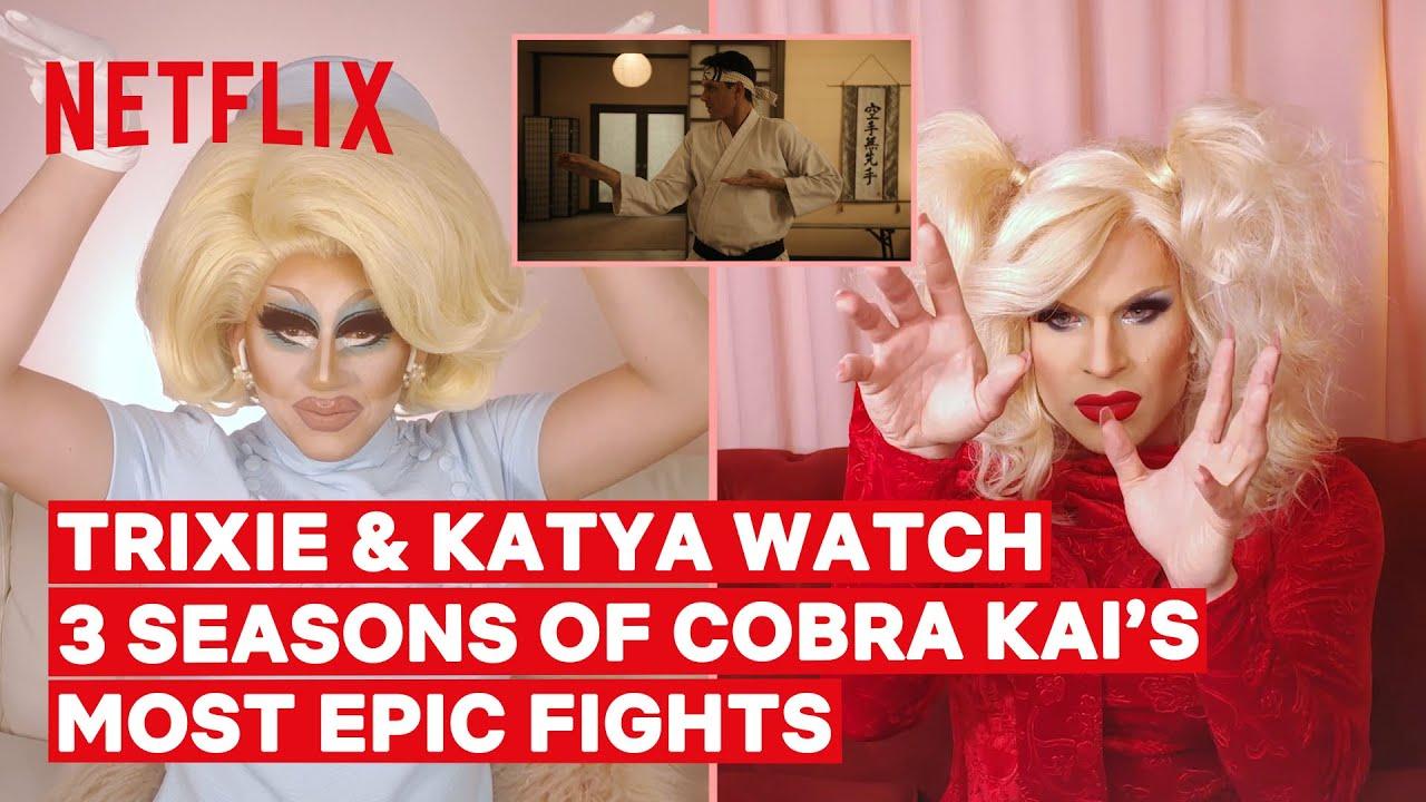 Drag Queens Trixie Mattel & Katya React to Cobra Kai Fight Scenes