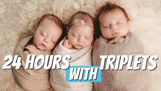A DAY IN THE LIFE WITH TRIPLETS 24 Hours with newborn triplets 2020  First Time Parents