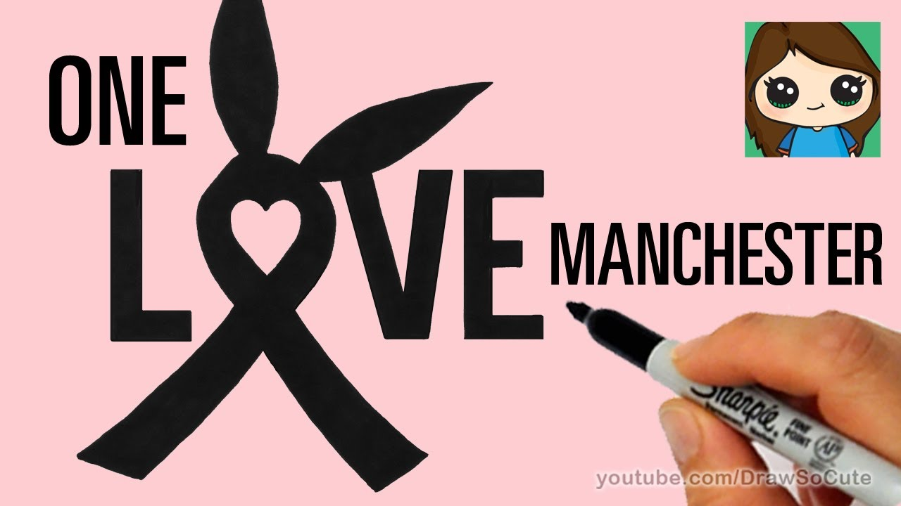 How to Draw Ariana Grande\'s One Love Manchester Ribbon Symbol - YouTube