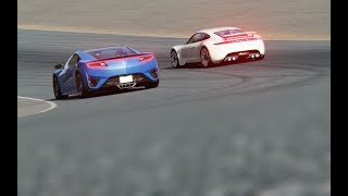 Battle Porsche Mission R Concept vs Honda NSX at Mazda Raceway Laguna Seca