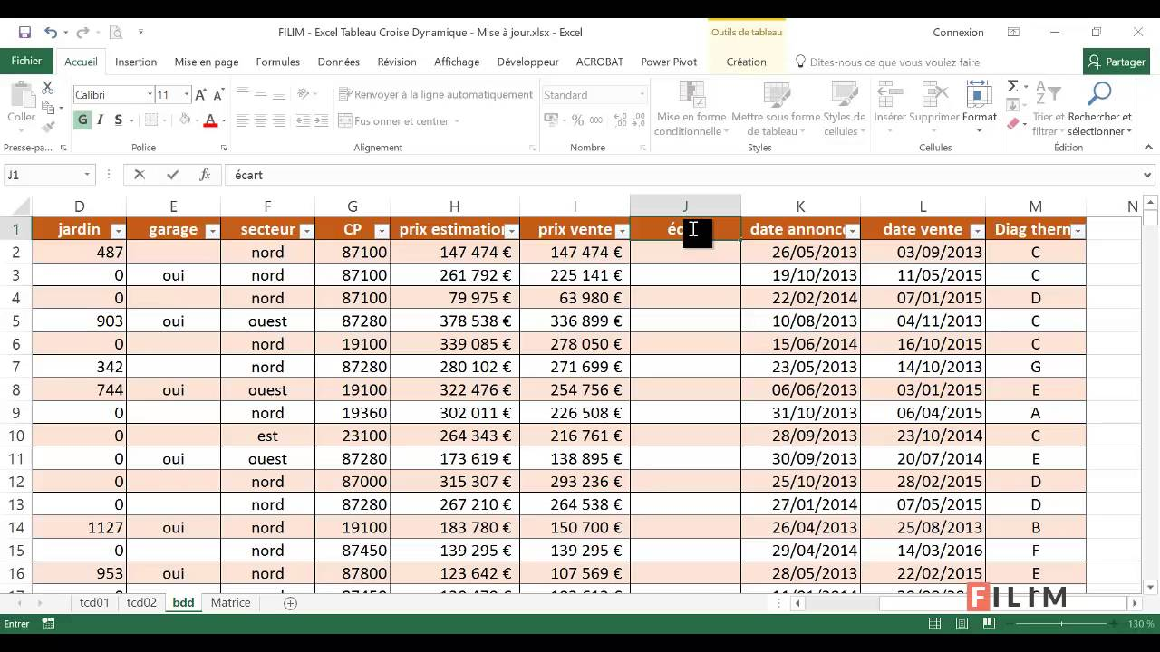 Excel Tableau Croisé Dynamique 4 Mise a jour - YouTube