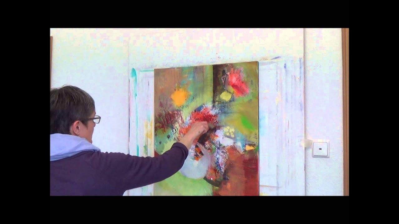 Acrylmalerei Techniken Tupftechnik Herbstwald Pat Technique