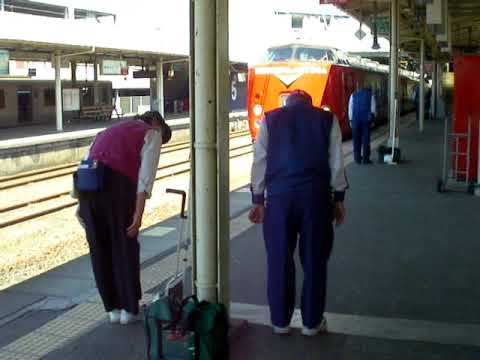 Japanese cleaners bowing for train at the station