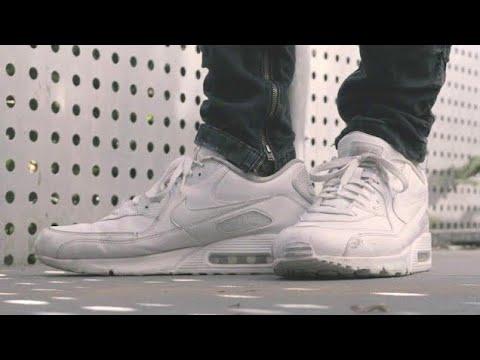 Nike Air Max 90 White Leather On Feet