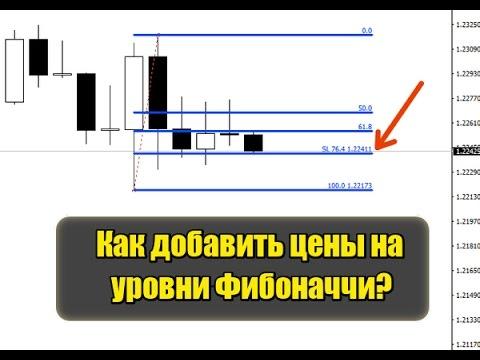 Как добавить цены на уровни Фибоначчи  Настройка сетки Фибо