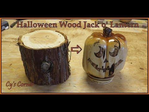 Halloween Wood Jack o' Lantern