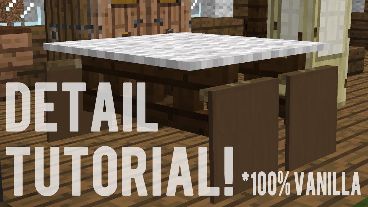 Minecraft Detail Tutorial Easy Fancy Table 100% Vanilla