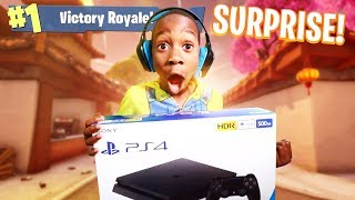 I told my 9 year old little brother if he gets a victory royale in Fortnite I will buy him a PS4!
