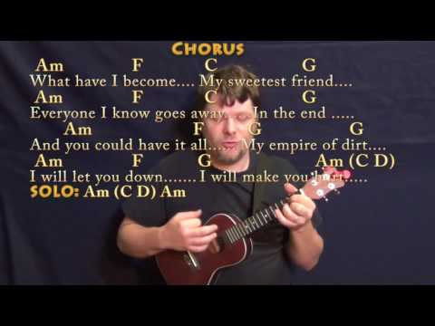 Hurt (Johnny Cash) Ukulele Cover Lesson with Chords/Lyrics