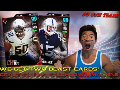 99 OVR MANTI TEO!? MICHAEL CRABTREE IS A TOUCHDOWN MACHINE! MADDEN 17 ULTIMATE TEAM