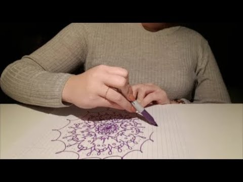 ASMR - Writing in French + Drawing (pen, sharpie & marker) NO TALKING