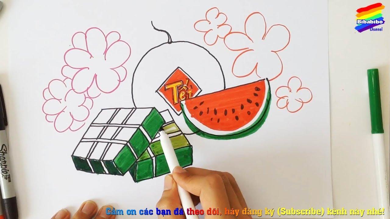 Vẽ tranh bánh chưng, dưa hấu, hoa mai, hoa đào ngày tết | Phiên bản vẽ chậm | Bibabibo channel