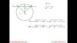 67 Взаимное расположение прямой и окружности