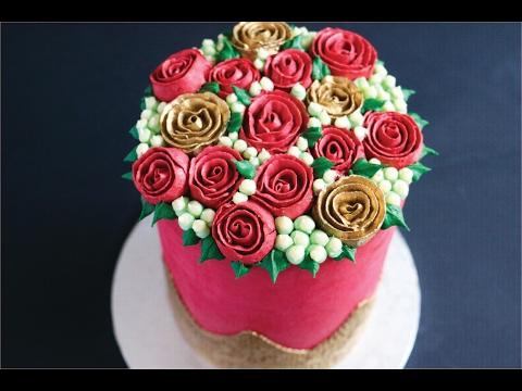 Buttercream Rose Covered Valentines Cake- Rosie's Dessert Spot