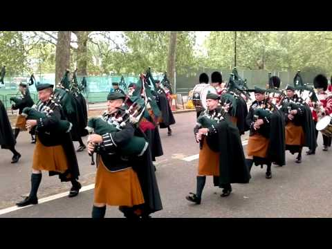 Diamond Jubilee - Irish Guards Band & Pipers And Feu De Joie Party Leave For The Palace