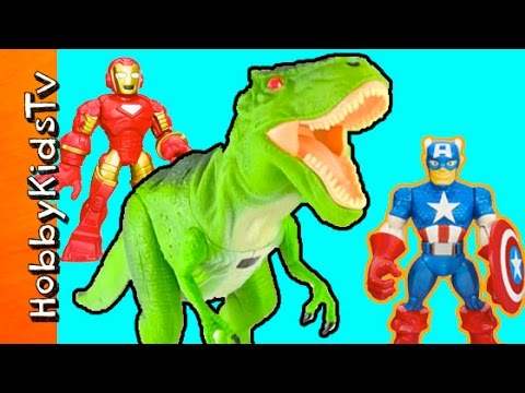Animal Planet R C Ravenous T-Rex! Ironman + Captain America Toy Fun HobbyKidsTV
