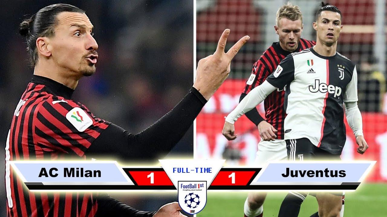 Ac Milan Vs Juventus 1 1 Goals Highlights 2020 Youtube