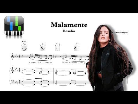 ⭐-malamente---rosalía-/-tutorial-piano-+【partitura-gratis】