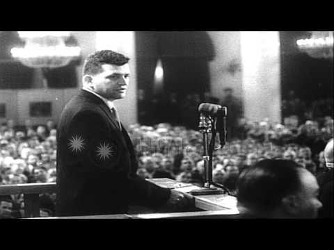 Soviet leader Nikita Khrushchev raises incident of captured U2 spy plane and pilo...HD Stock Footage