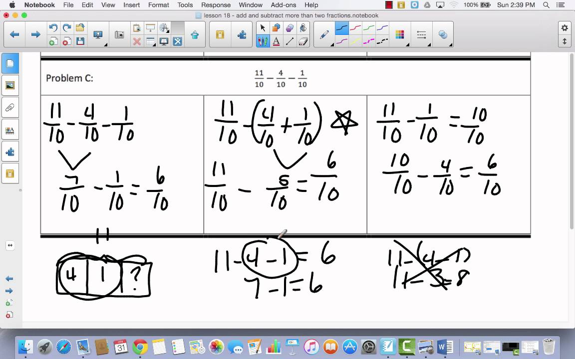 Module 5 Lesson 18 add and subtract two or more fractions