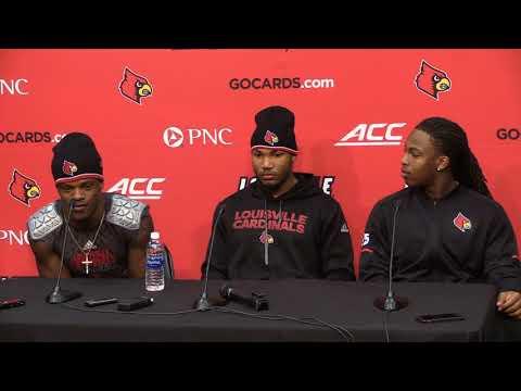 Lamar Jackson, Reggie Bonnafon, Jaylen Smith & Dae Williams Virginia Post-Game 11-11-2017