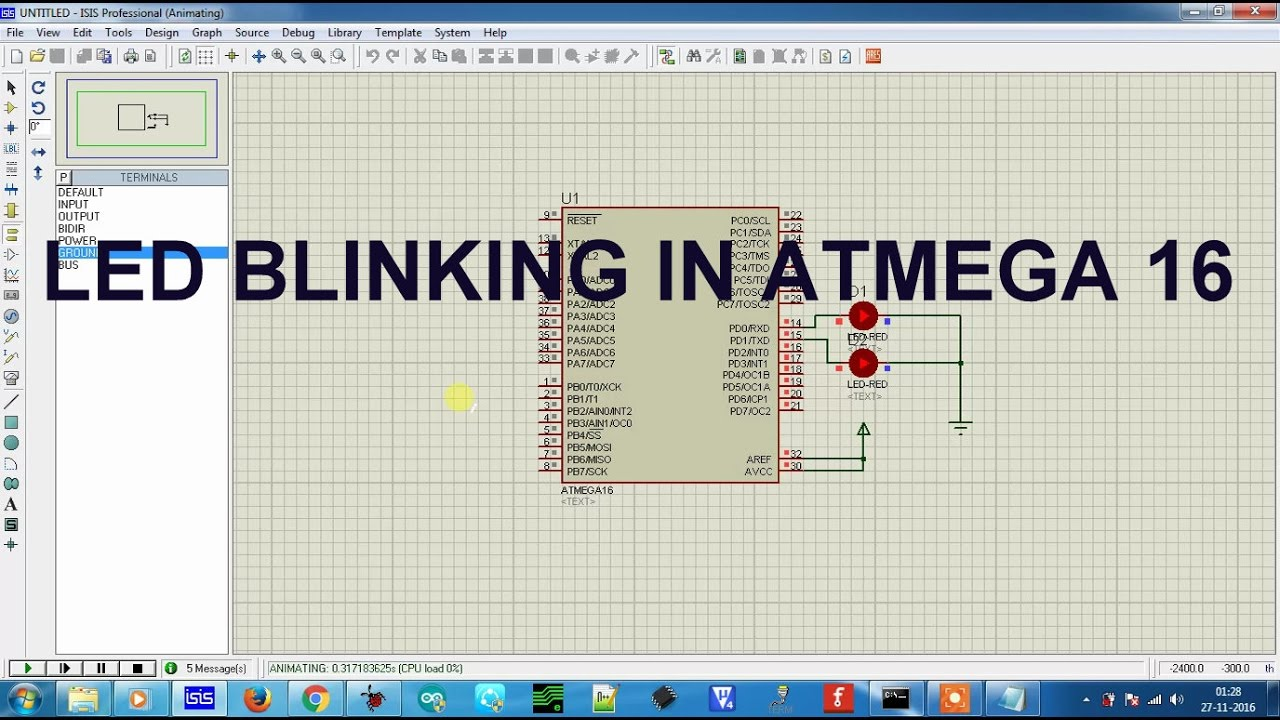 Led blinking in atmega 16   How to make a project in avr studio 4