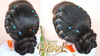 Peinado Facil/ Recogido Con Ligas/ Hairstyle for girls