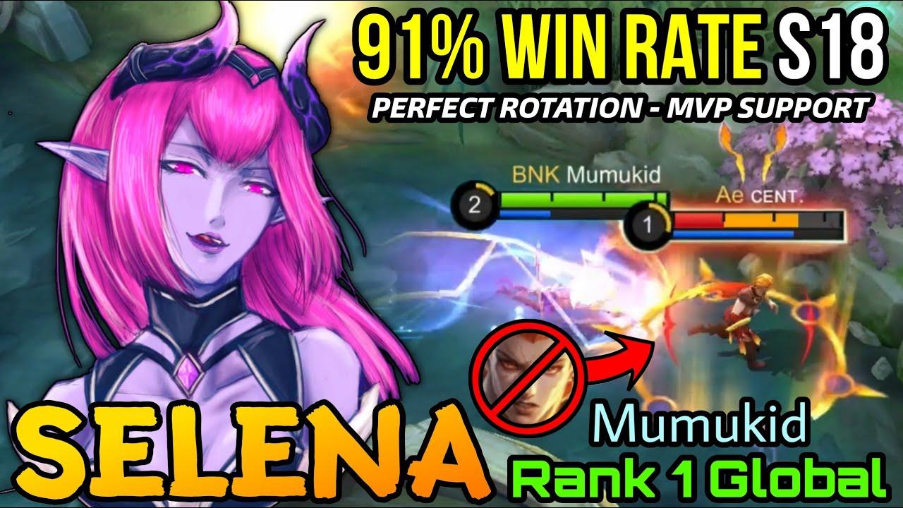 91% Win Rate S18!! Support Selena Perfect Plays!! - Top 1 Global Selena by Mumukid - MLBB
